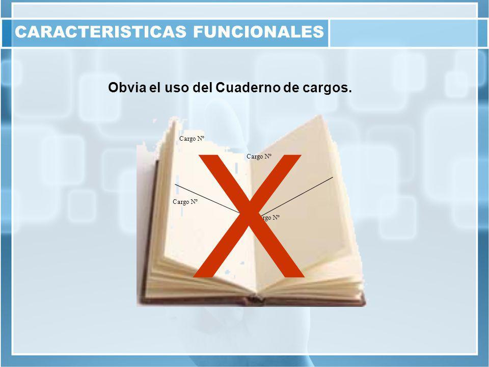Obvia el uso del Cuaderno de cargos. Cargo Nº X CARACTERISTICAS FUNCIONALES