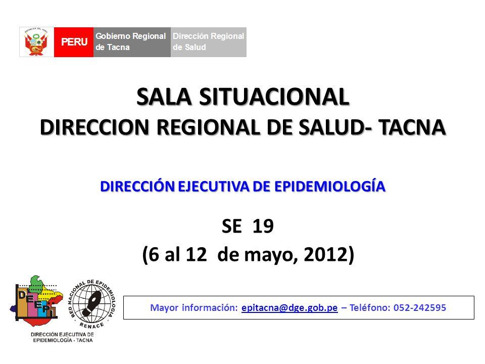 SALA SITUACIONAL DIRECCION REGIONAL DE SALUD- TACNA SE 19 (6 al 12 de mayo, 2012) Mayor información: epitacna@dge.gob.pe – Teléfono: 052-242595epitacna@dge.gob.pe DIRECCIÓN EJECUTIVA DE EPIDEMIOLOGÍA