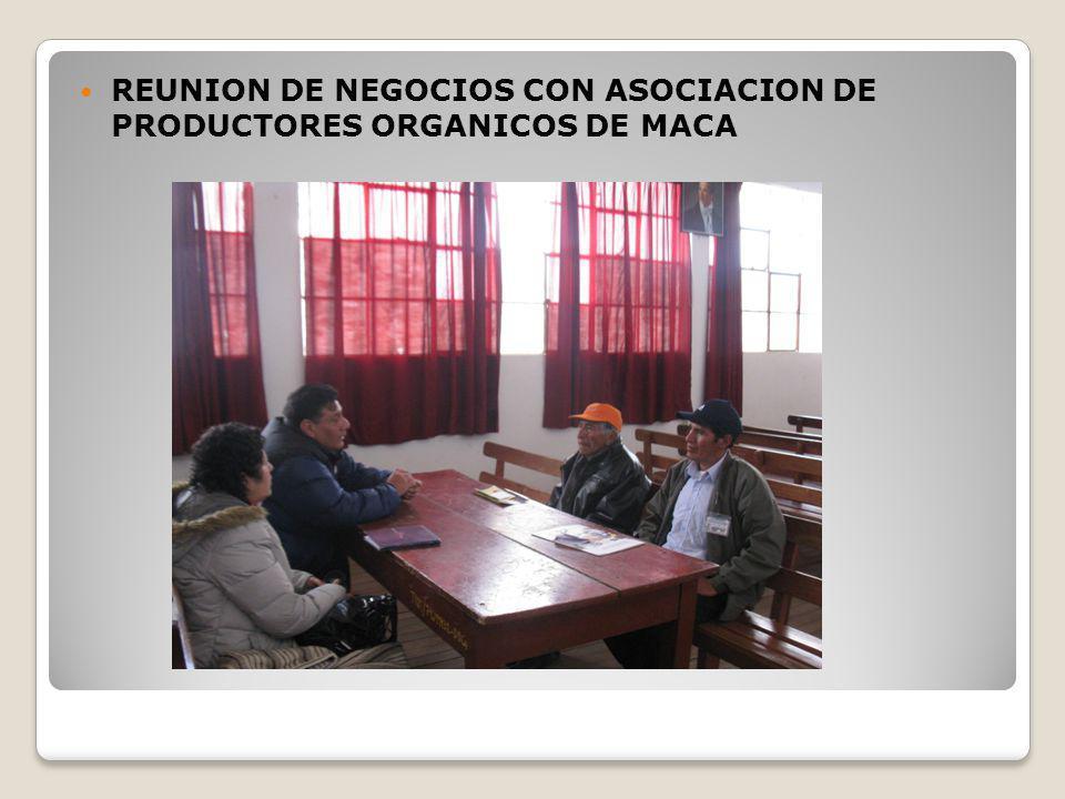 REUNION DE NEGOCIOS CON ASOCIACION DE PRODUCTORES ORGANICOS DE MACA