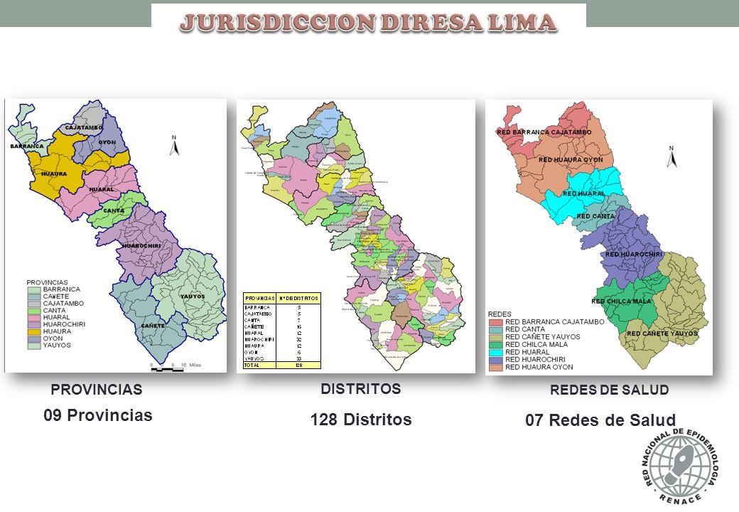 PROVINCIAS DISTRITOS 09 Provincias 128 Distritos REDES DE SALUD 07 Redes de Salud