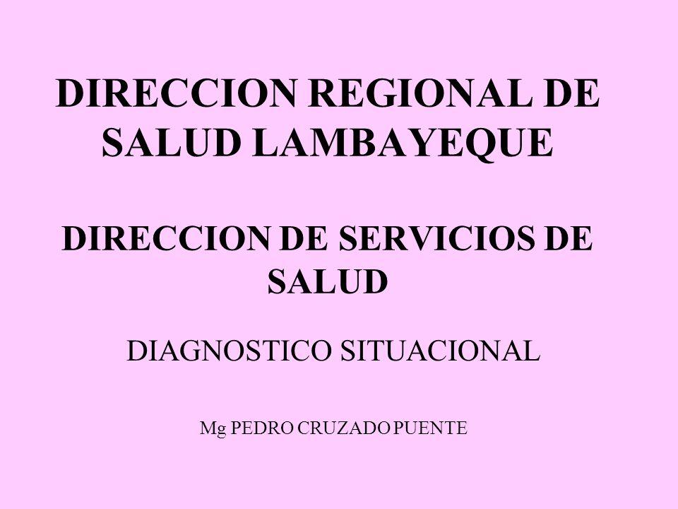 DIRECCION REGIONAL DE SALUD LAMBAYEQUE DIRECCION DE SERVICIOS DE SALUD DIAGNOSTICO SITUACIONAL Mg PEDRO CRUZADO PUENTE