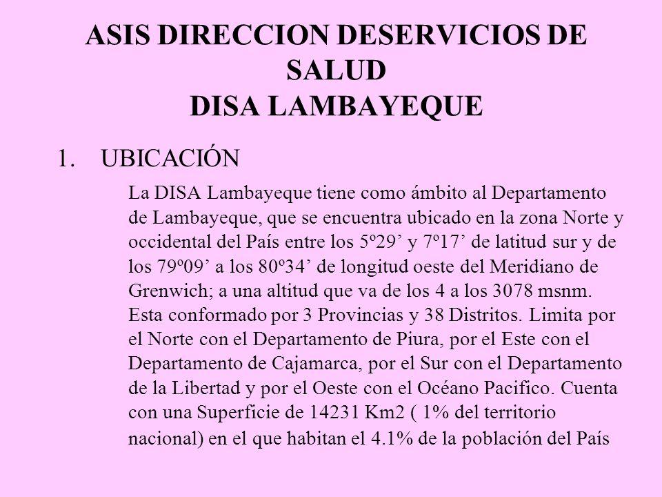 ASIS DIRECCION DESERVICIOS DE SALUD DISA LAMBAYEQUE 1.UBICACIÓN La DISA Lambayeque tiene como ámbito al Departamento de Lambayeque, que se encuentra u