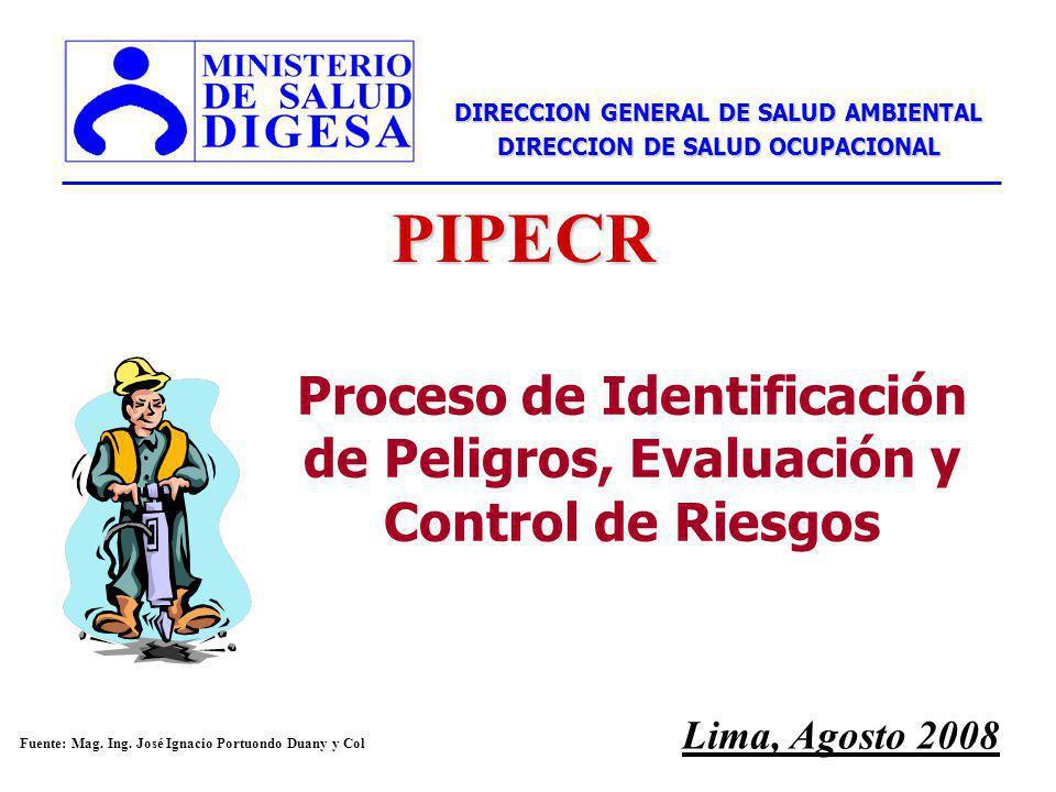 Proceso de Identificación de Peligros, Evaluación y Control de Riesgos Lima, Agosto 2008 DIRECCION GENERAL DE SALUD AMBIENTAL DIRECCION DE SALUD OCUPACIONAL PIPECR n Fuente: Mag.