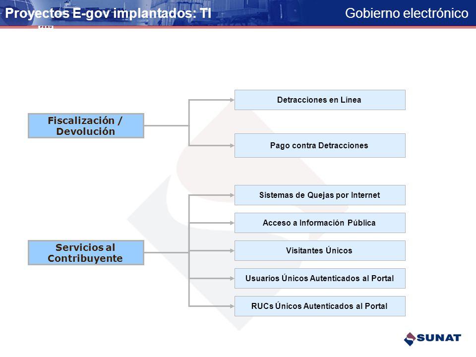 Gobierno electrónico Declaración y Pago Presentación DDJJ Determinativa Pagos por Internet de Tributos Internos Modificación de datos DDJJ por Interne