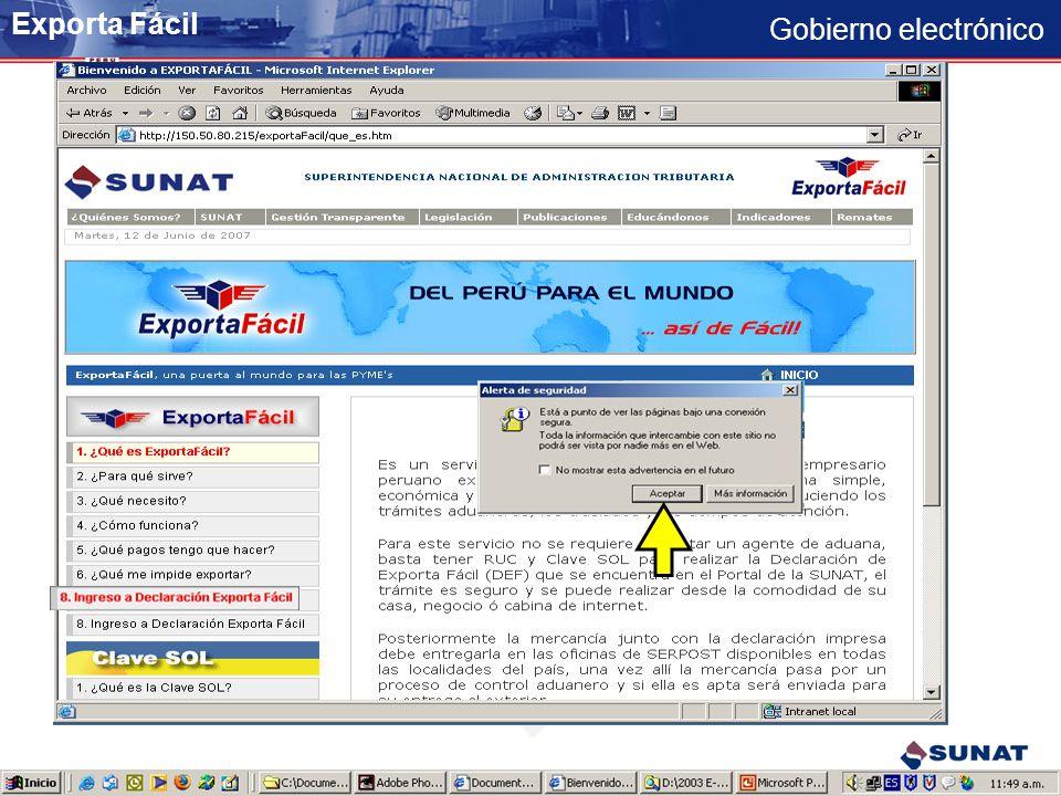 Gobierno electrónico Revisar la información respecto del servicio Ingreso a la aplicación transaccional Exporta Fácil