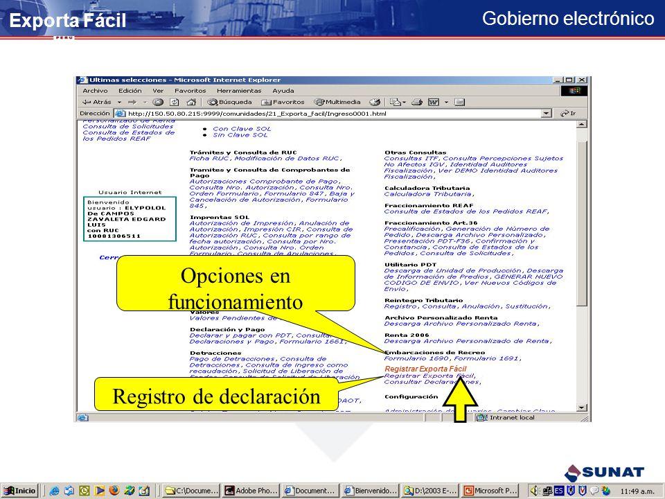 Gobierno electrónico 23456789121 IG9ERWKA *********** Registro de su Clave SOL Exporta Fácil