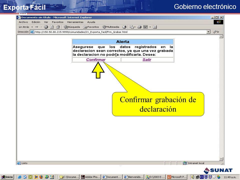 Gobierno electrónico Serie registrada Continuar registro de series... Adicionar la serie Exporta Fácil