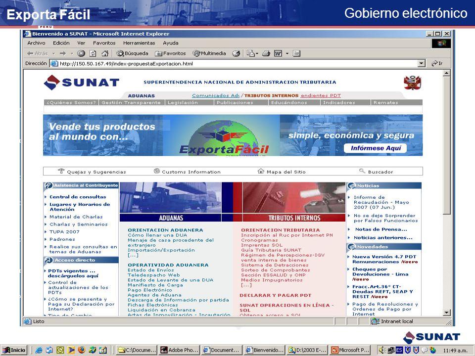 Gobierno electrónico Se muestra la declaración completa para su impresión Exporta Fácil