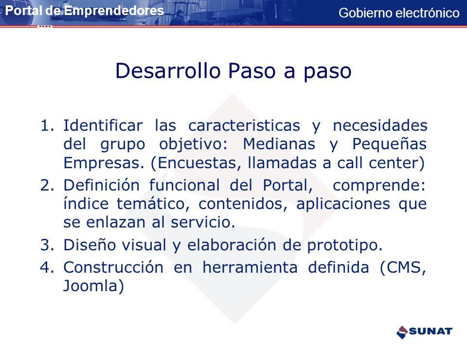 Gobierno electrónico SERVICIOS PERSONALIZADOS AL CONTRIBUYENTE. Portal de Emprendedores Servicios dirigidos a medianas y pequeñas empresas Portal de E