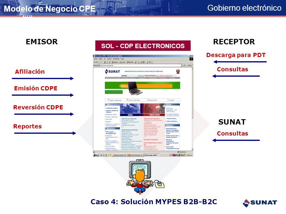 Gobierno electrónico EMISOR ELECTRONICOUSUARIO FINAL PSE SUNAT Acuse de Recibo AB CDPE impreso/mail 3 1 AR 4 2 Envio por lotes. Esquema Batch CASO 3: