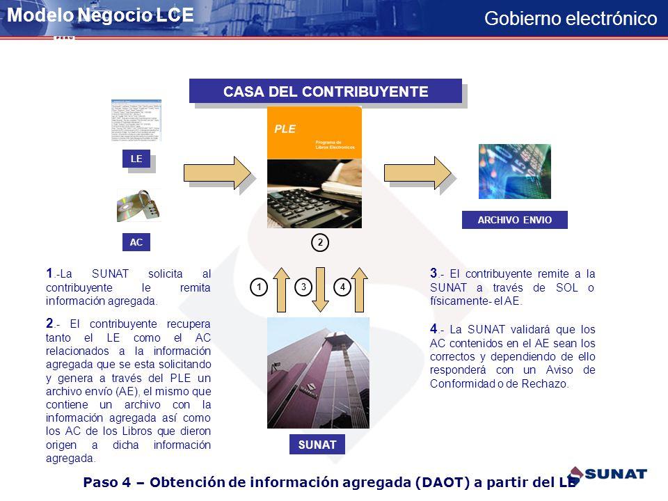 Gobierno electrónico Paso 3 – Obtención del LE por parte de SUNAT-Terceros CASA DEL CONTRIBUYENTE 13 LE AC 2 ARCHIVO ENVIO 1.-La Entidad solicita al c