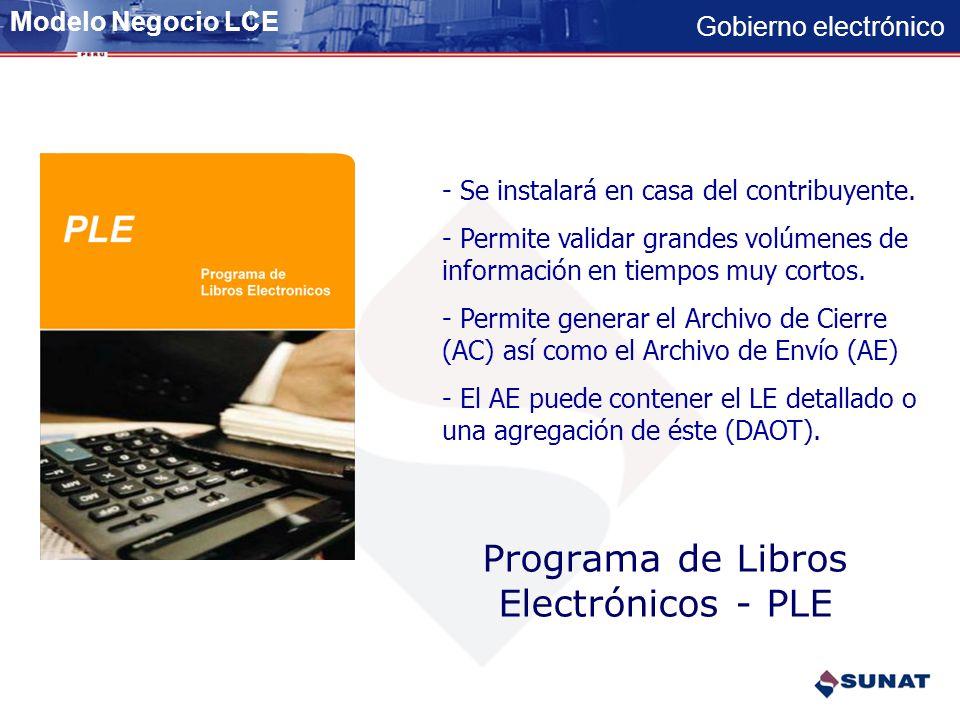 Gobierno electrónico Paso 4 – Obtención de información agregada (DAOT) a partir del LE CASA DEL CONTRIBUYENTE 13 LE AC 2 ARCHIVO ENVIO 1.-La SUNAT sol