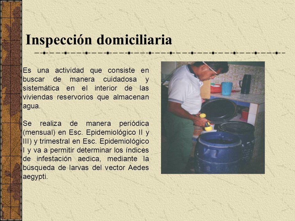 Inspección domiciliaria Es una actividad que consiste en buscar de manera cuidadosa y sistemática en el interior de las viviendas reservorios que alma