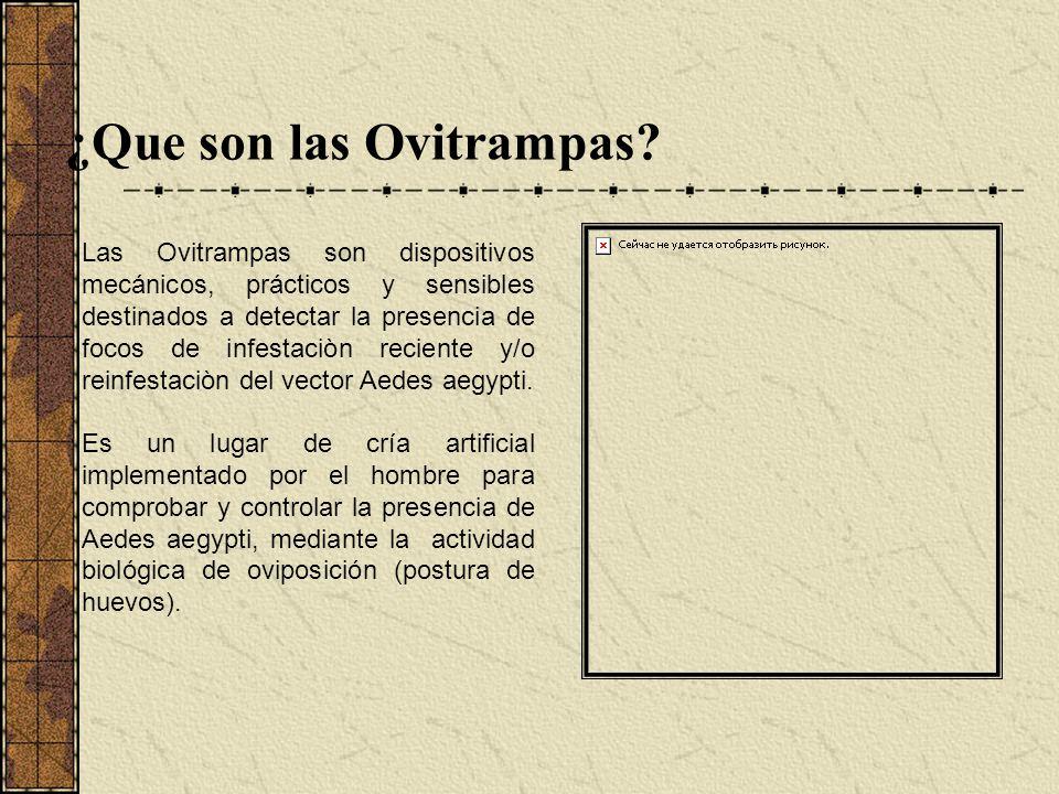 ¿Que son las Ovitrampas? Las Ovitrampas son dispositivos mecánicos, prácticos y sensibles destinados a detectar la presencia de focos de infestaciòn r