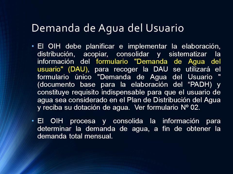 Demanda de Agua del Usuario El OIH debe planificar e implementar la elaboración, distribución, acopiar, consolidar y sistematizar la información del f
