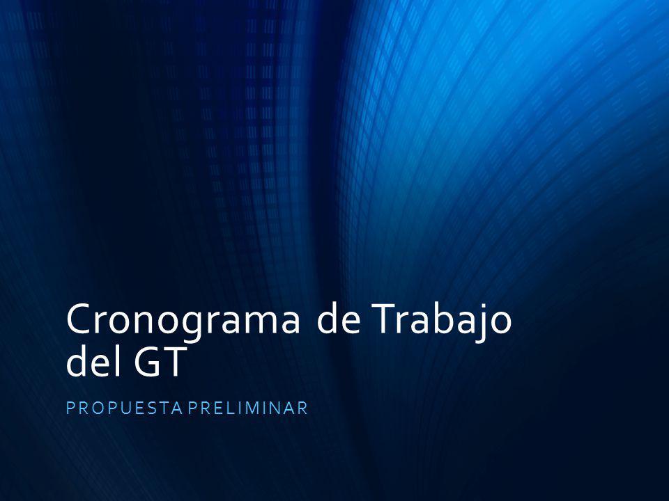 Cronograma de Trabajo del GT PROPUESTA PRELIMINAR