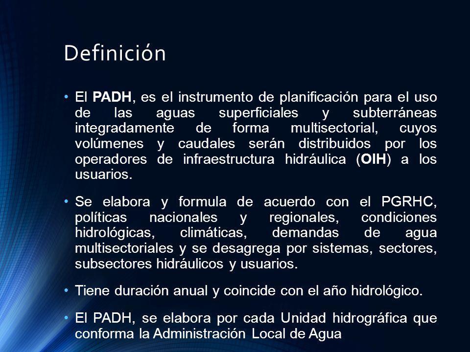 Definición El PADH, es el instrumento de planificación para el uso de las aguas superficiales y subterráneas integradamente de forma multisectorial, c