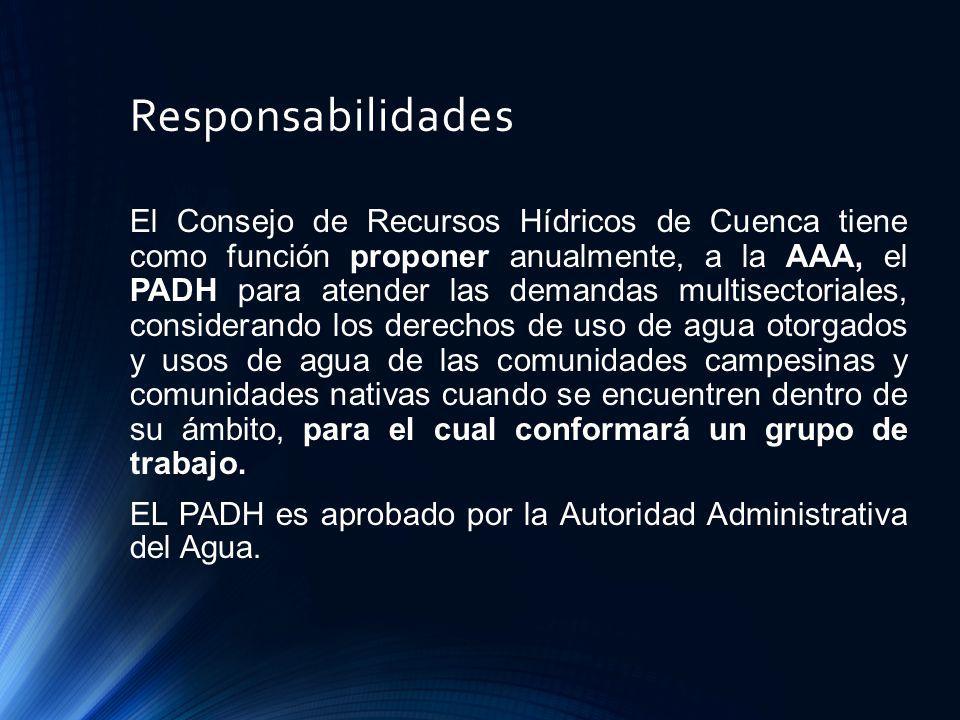 Responsabilidades El Consejo de Recursos Hídricos de Cuenca tiene como función proponer anualmente, a la AAA, el PADH para atender las demandas multis