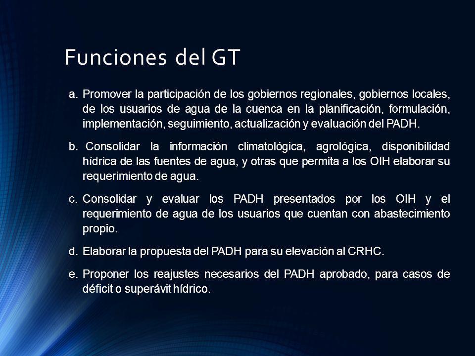 Funciones del GT a.Promover la participación de los gobiernos regionales, gobiernos locales, de los usuarios de agua de la cuenca en la planificación,