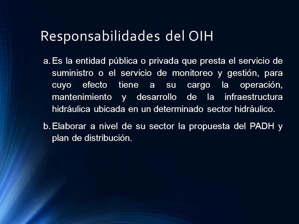 Responsabilidades del OIH a.Es la entidad pública o privada que presta el servicio de suministro o el servicio de monitoreo y gestión, para cuyo efect