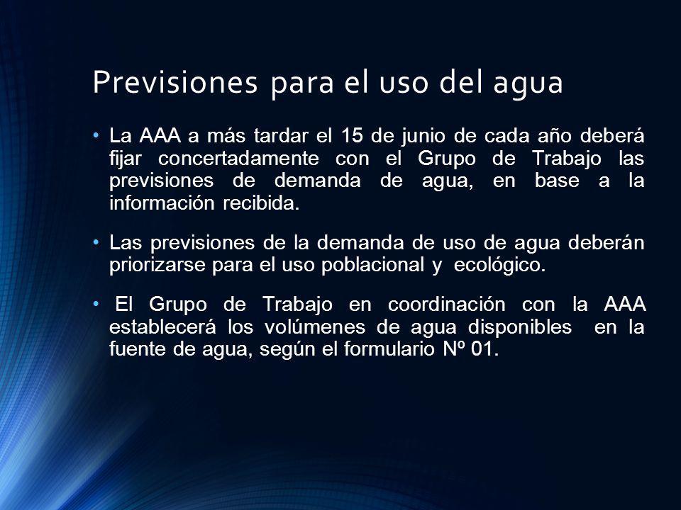 Previsiones para el uso del agua La AAA a más tardar el 15 de junio de cada año deberá fijar concertadamente con el Grupo de Trabajo las previsiones d