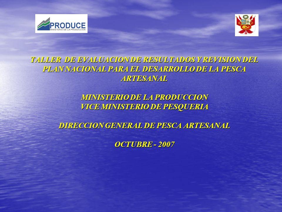 TALLER DE EVALUACION DE RESULTADOS Y REVISION DEL PLAN NACIONAL PARA EL DESARROLLO DE LA PESCA ARTESANAL MINISTERIO DE LA PRODUCCION VICE MINISTERIO D