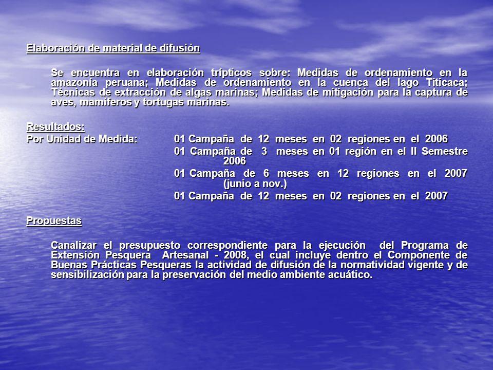 Elaboración de material de difusión Se encuentra en elaboración trípticos sobre: Medidas de ordenamiento en la amazonía peruana; Medidas de ordenamien
