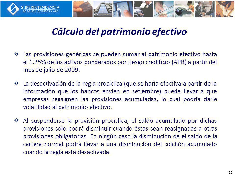 Cálculo del patrimonio efectivo Las provisiones genéricas se pueden sumar al patrimonio efectivo hasta el 1.25% de los activos ponderados por riesgo c