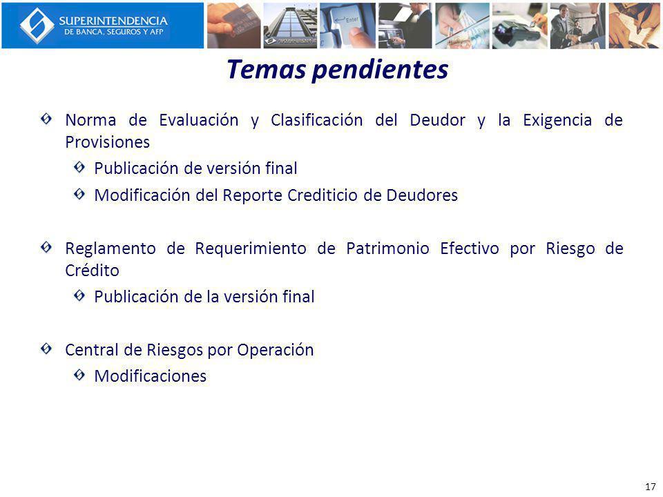 Temas pendientes Norma de Evaluación y Clasificación del Deudor y la Exigencia de Provisiones Publicación de versión final Modificación del Reporte Cr
