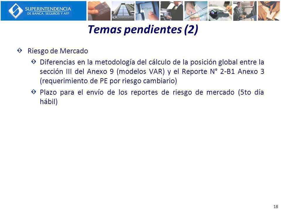 Temas pendientes (2) Riesgo de Mercado Diferencias en la metodología del cálculo de la posición global entre la sección III del Anexo 9 (modelos VAR)