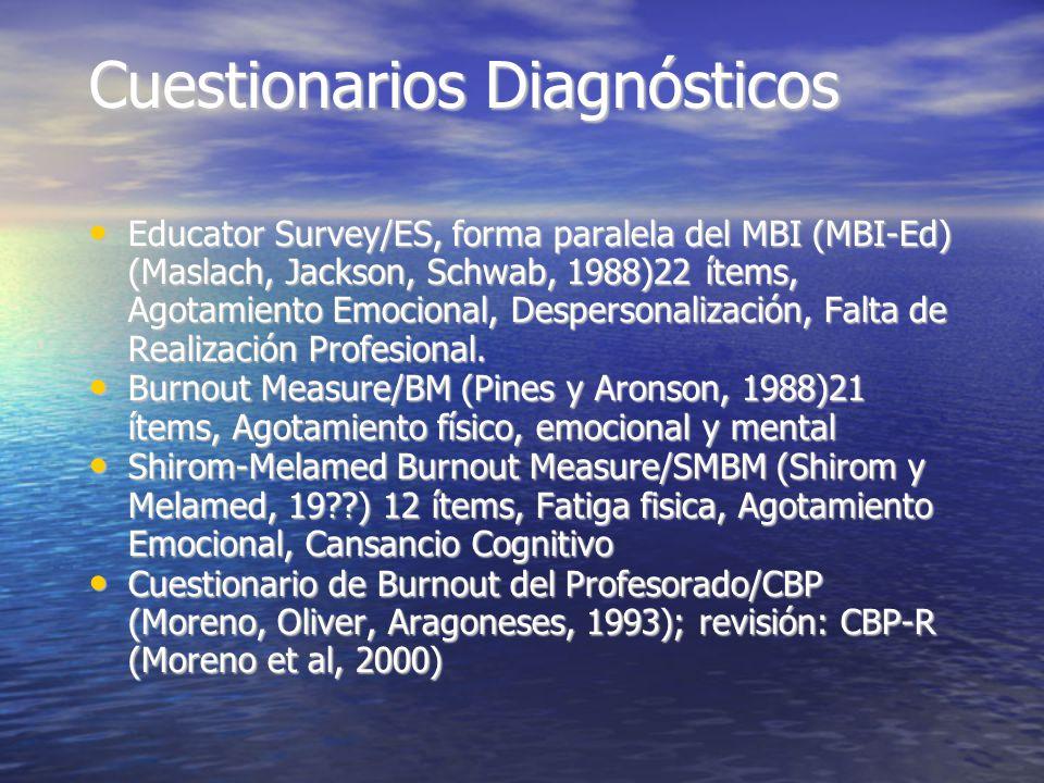 Cuestionarios Diagnósticos Educator Survey/ES, forma paralela del MBI (MBI-Ed) (Maslach, Jackson, Schwab, 1988)22 ítems, Agotamiento Emocional, Despersonalización, Falta de Realización Profesional.