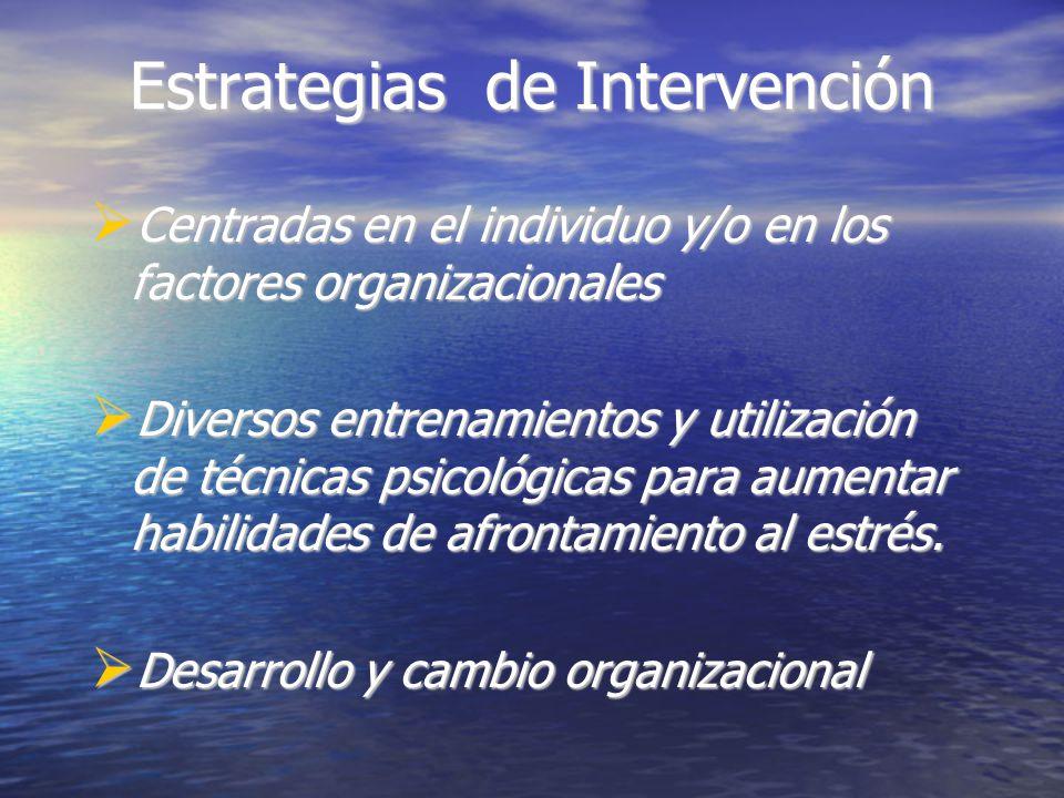Estrategias de Intervención Centradas en el individuo y/o en los factores organizacionales Centradas en el individuo y/o en los factores organizacionales Diversos entrenamientos y utilización de técnicas psicológicas para aumentar habilidades de afrontamiento al estrés.