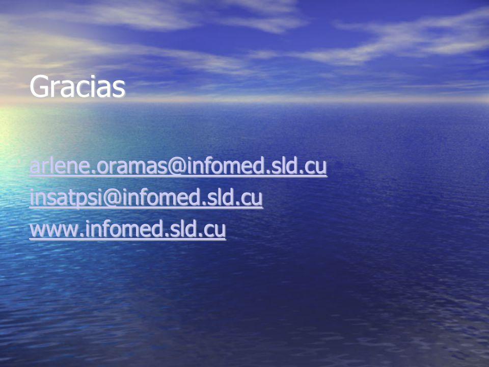 Gracias arlene.oramas@infomed.sld.cu insatpsi@infomed.sld.cu www.infomed.sld.cu