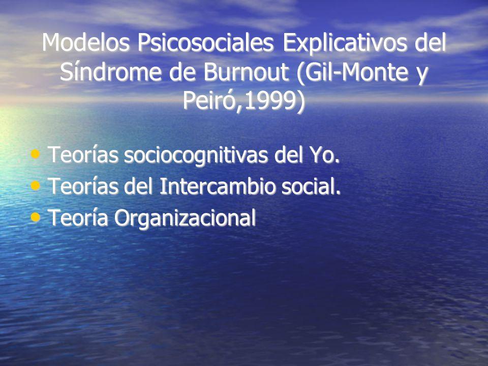 Modelos Psicosociales Explicativos del Síndrome de Burnout (Gil-Monte y Peiró,1999) Teorías sociocognitivas del Yo.