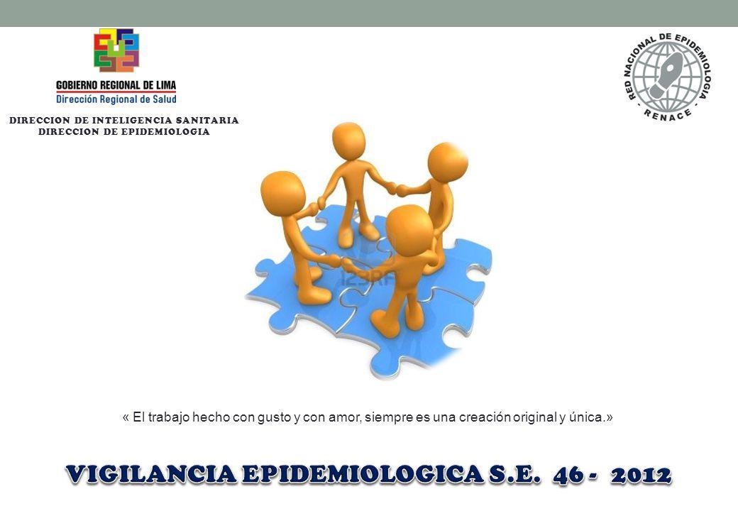 DIRECCION DE INTELIGENCIA SANITARIA DIRECCION DE EPIDEMIOLOGIA « El trabajo hecho con gusto y con amor, siempre es una creación original y única.»