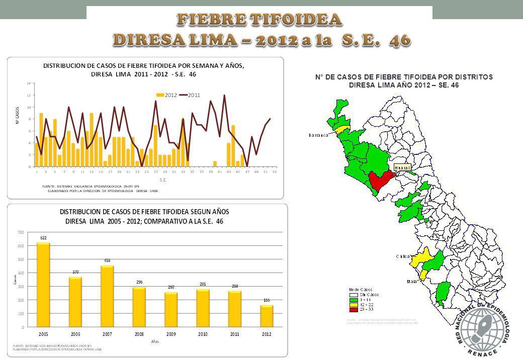 N° DE CASOS DE FIEBRE TIFOIDEA POR DISTRITOS DIRESA LIMA AÑO 2012 – SE. 46