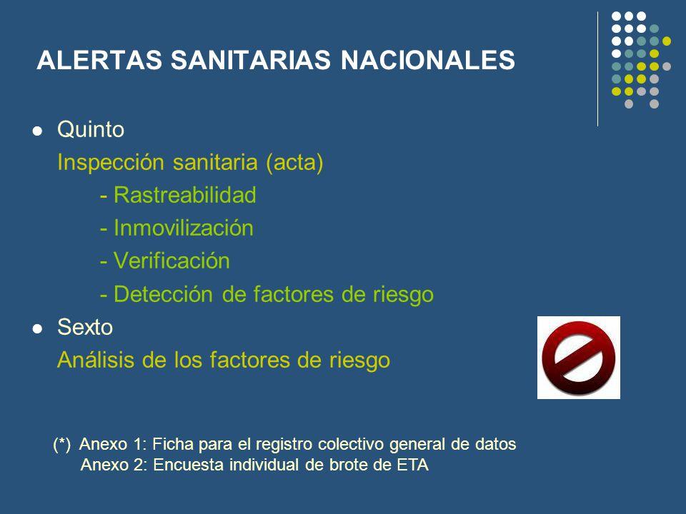 ALERTAS SANITARIAS NACIONALES Quinto Inspección sanitaria (acta) - Rastreabilidad - Inmovilización - Verificación - Detección de factores de riesgo Se
