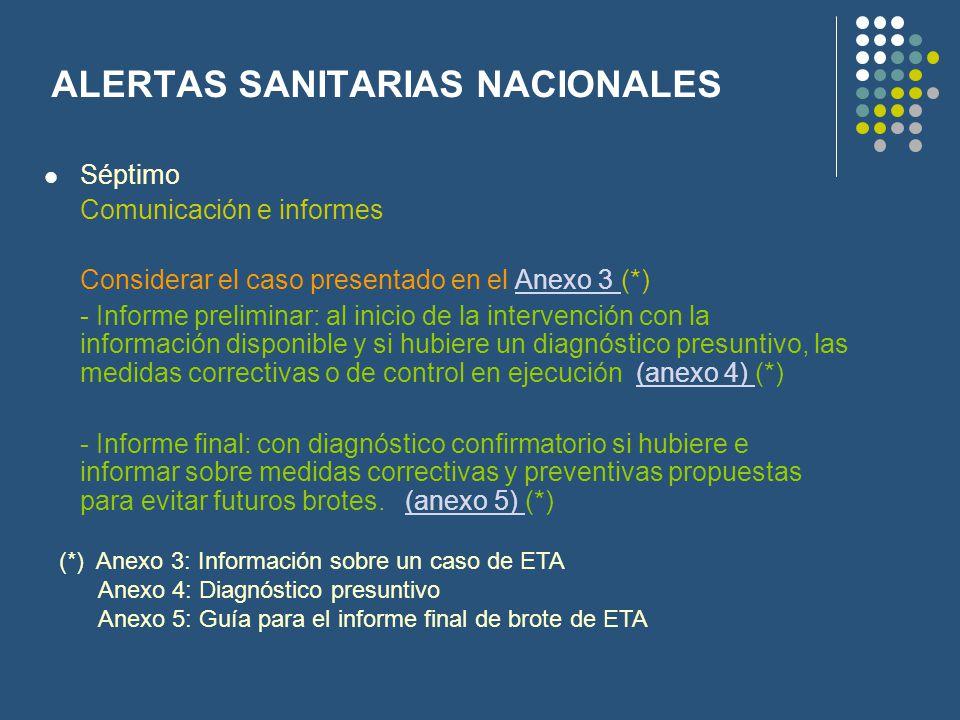 ALERTAS SANITARIAS NACIONALES Séptimo Comunicación e informes Considerar el caso presentado en el Anexo 3 (*)Anexo 3 - Informe preliminar: al inicio d