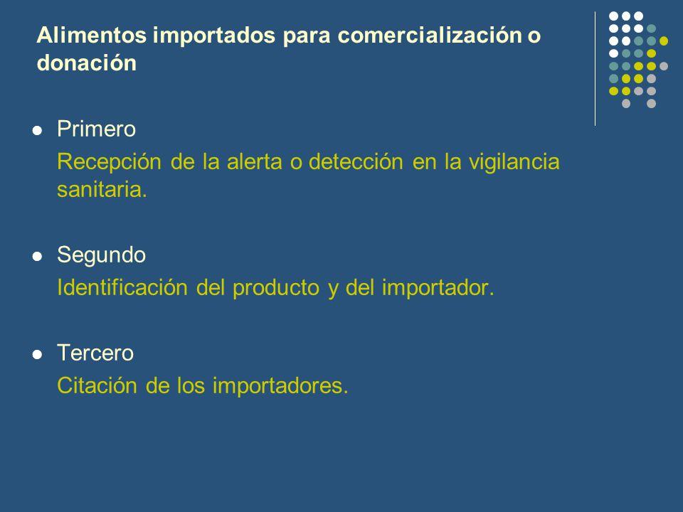 Alimentos importados para comercialización o donación Primero Recepción de la alerta o detección en la vigilancia sanitaria. Segundo Identificación de