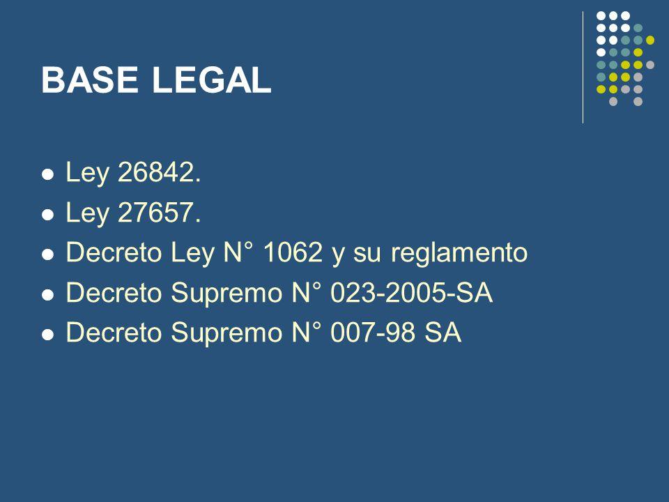 BASE LEGAL Ley 26842. Ley 27657. Decreto Ley N° 1062 y su reglamento Decreto Supremo N° 023-2005-SA Decreto Supremo N° 007-98 SA