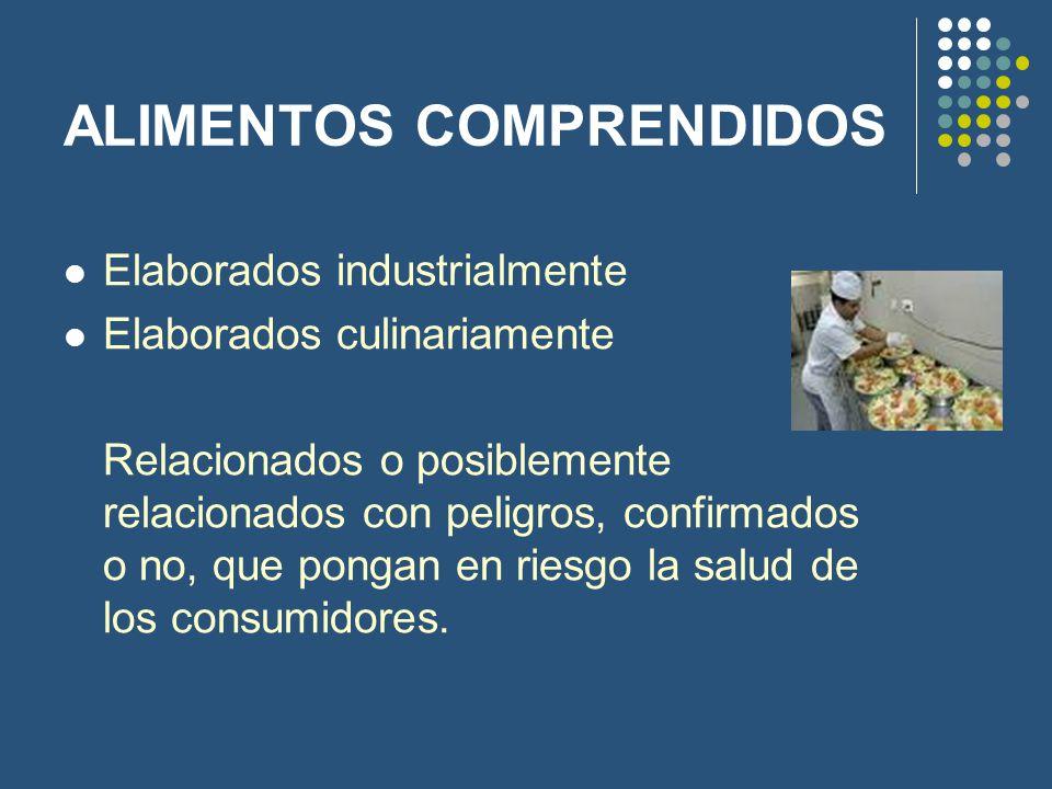 ALIMENTOS COMPRENDIDOS Elaborados industrialmente Elaborados culinariamente Relacionados o posiblemente relacionados con peligros, confirmados o no, q