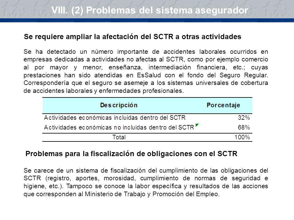 VIII. (2) Problemas del sistema asegurador Se ha detectado un número importante de accidentes laborales ocurridos en empresas dedicadas a actividades