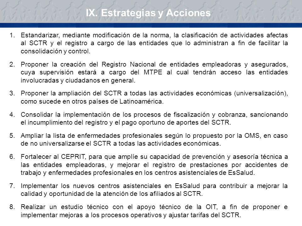 1.Estandarizar, mediante modificación de la norma, la clasificación de actividades afectas al SCTR y el registro a cargo de las entidades que lo admin