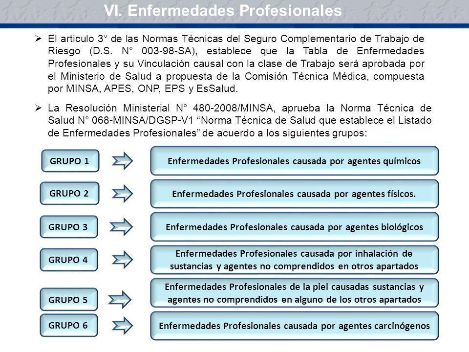 VI. Enfermedades Profesionales El articulo 3° de las Normas Técnicas del Seguro Complementario de Trabajo de Riesgo (D.S. N° 003-98-SA), establece que