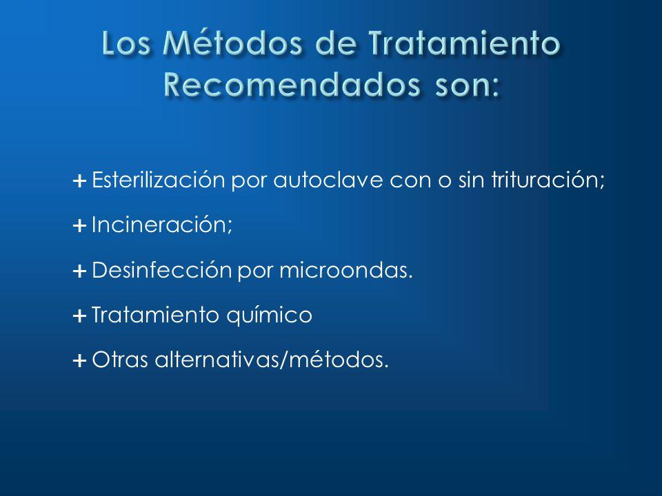 Esterilización por autoclave con o sin trituración; Incineración; Desinfección por microondas. Tratamiento químico Otras alternativas/métodos.