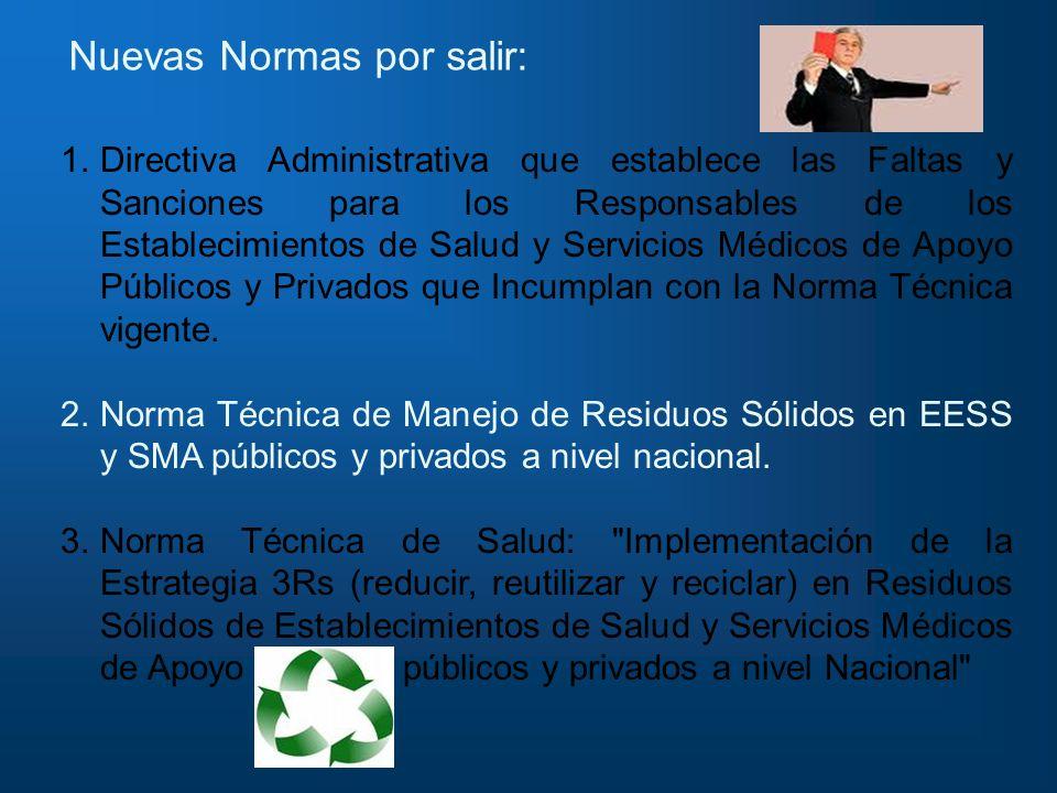 Nuevas Normas por salir: 1.Directiva Administrativa que establece las Faltas y Sanciones para los Responsables de los Establecimientos de Salud y Serv