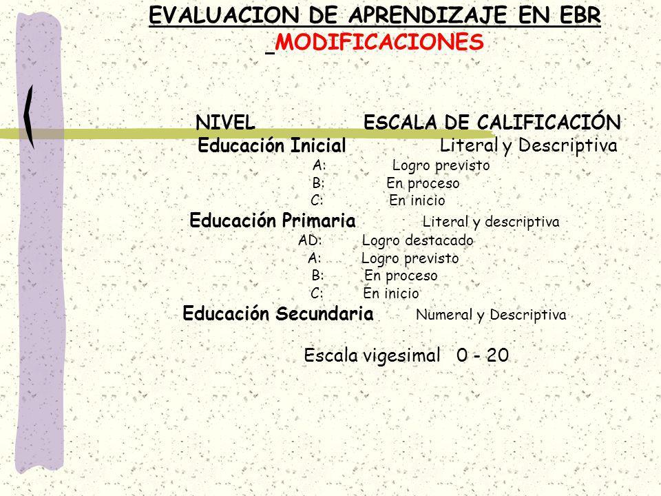 EVALUACION DE APRENDIZAJE EN EBR MODIFICACIONES NIVEL ESCALA DE CALIFICACIÓN Educación Inicial Literal y Descriptiva A: Logro previsto B: En proceso C