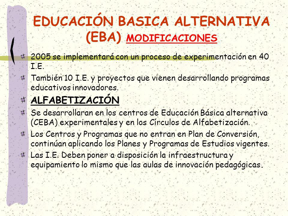 EDUCACIÓN BASICA ALTERNATIVA (EBA) MODIFICACIONES 2005 se implementará con un proceso de experimentación en 40 I.E. También 10 I.E. y proyectos que vi