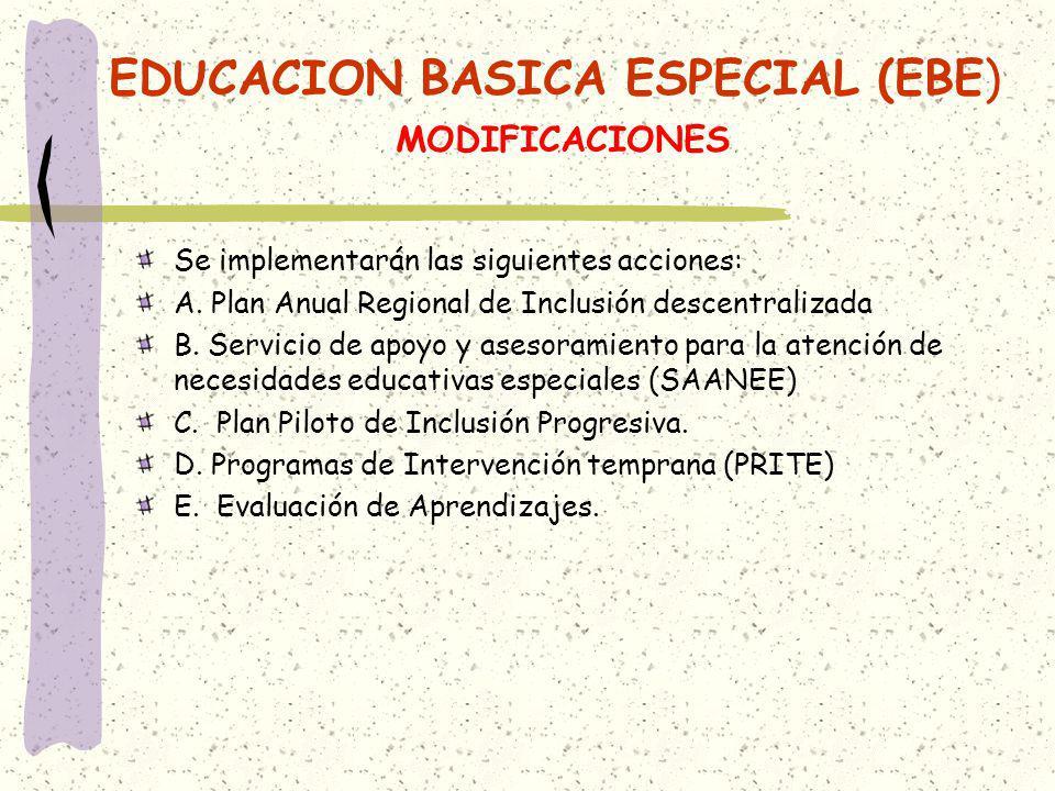 EDUCACION BASICA ESPECIAL (EBE) MODIFICACIONES Se implementarán las siguientes acciones: A. Plan Anual Regional de Inclusión descentralizada B. Servic