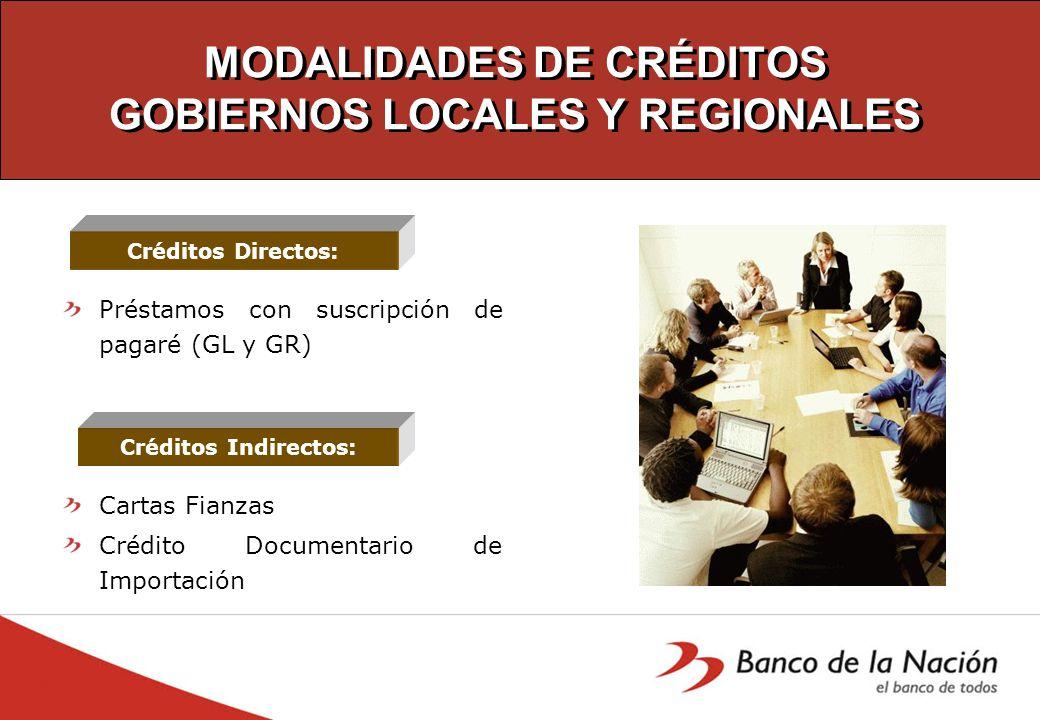 MODALIDADES DE CRÉDITOS GOBIERNOS LOCALES Y REGIONALES Préstamos con suscripción de pagaré (GL y GR) Cartas Fianzas Crédito Documentario de Importación Créditos Directos: Créditos Indirectos: